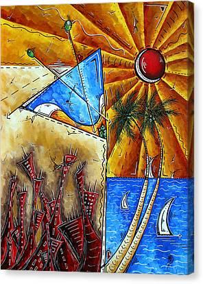 Contemporary Coastal Nautical Tropical Martin Art Original Sailboat Painting Ocean View By Madart Canvas Print by Megan Duncanson