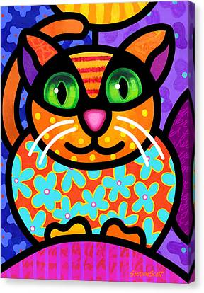 Cheshire Cat Canvas Print - Contented Cat by Steven Scott