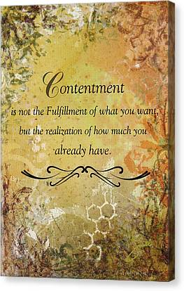 Contentment Inspirational Christian Art Print Canvas Print by Janelle Nichol