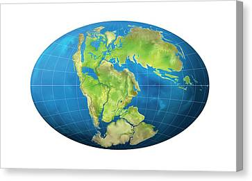 Continents 150 Million Years Ago Canvas Print by Claus Lunau
