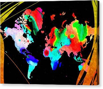 Continents Watercolor Canvas Print by Daniel Janda