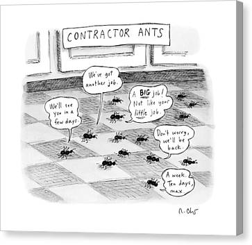 Contractor Ants Are Leaving A House. Ants' Speech Canvas Print