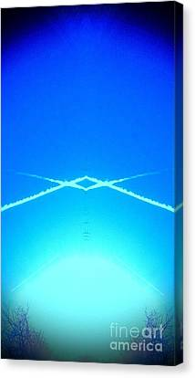 Canvas Print featuring the photograph Contrail Pyramid  by Karen Newell