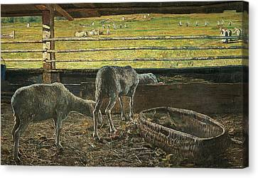 Contrast Of Light Canvas Print by Giovanni Segantini