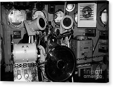 controls of the USS Intrepid at the Intrepid Sea Air Space Museum Canvas Print by Joe Fox
