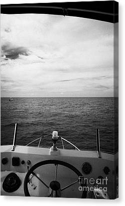 Controls On The Flybridge Deck Of A Charter Fishing Boat In The Gulf Of Mexico Out Of Key West Flori Canvas Print by Joe Fox