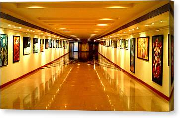 Convergence Paitings On Display At Muse Gallery Canvas Print by Anand Swaroop Manchiraju