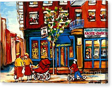 St.viateur Bagel Canvas Print - Conversation At St Viateur Bagel Paintings Mehadrin Kosher Deli Authentic Vintage Montreal Cspandau by Carole Spandau