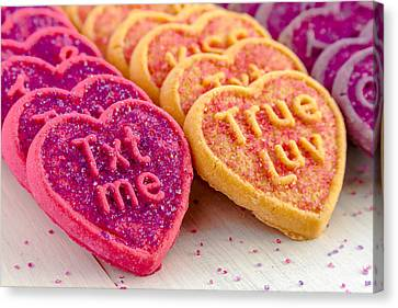 Conversation Heart Cookies Canvas Print