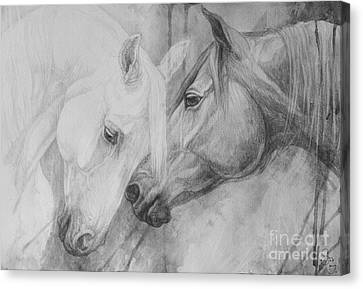 Black And White Canvas Print - Conversation II by Silvana Gabudean Dobre
