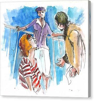 Conversation On Deck 01 Canvas Print by Miki De Goodaboom