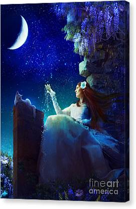 Conversation With The Moon Canvas Print by Aimee Stewart