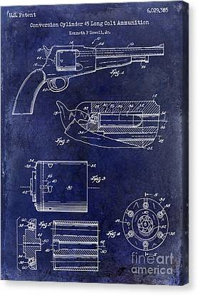 Conversion Cylinder 45 Long Colt Ammunition Blue Canvas Print