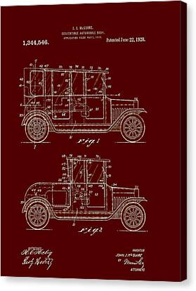 Old Car Canvas Print - Convertible Automobile Body Patent 1920 by Mountain Dreams