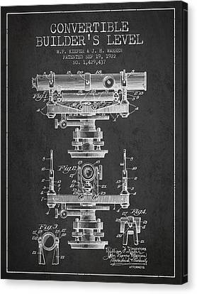 Convertible Builders Level Patent From 1922 -  Charcoal Canvas Print by Aged Pixel