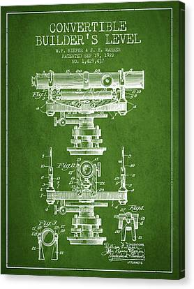 Convertible Builders Level Patent From 1922 -  Green Canvas Print by Aged Pixel