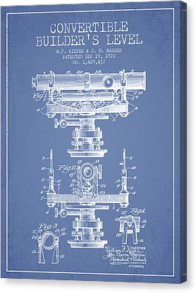 Convertible Builders Level Patent From 1922 -  Light Blue Canvas Print by Aged Pixel