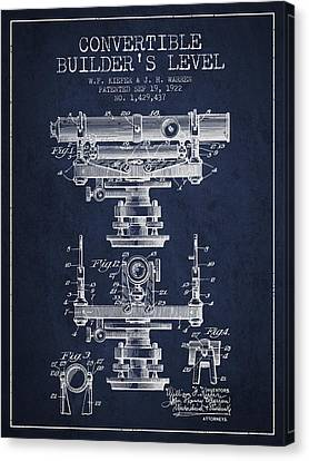 Convertible Builders Level Patent From 1922 -  Navy Blue Canvas Print by Aged Pixel