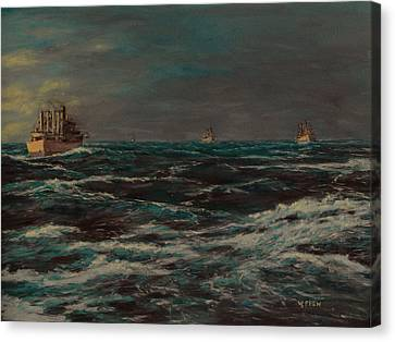 Convoy Morning North Atlantic Wwii Canvas Print