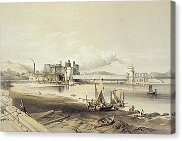Conway Bridge, Construction Of Second Canvas Print by George Hawkins