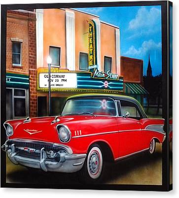 57 Chevy Canvas Print - Conway Main Street Theatre by Amatzia Baruchi