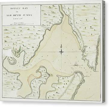 Cook's Map Of Botany Bay Canvas Print by British Library