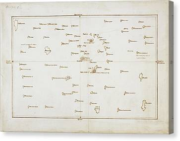 Cook's Map Of The Society Islands Canvas Print by British Library