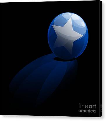 Canvas Print featuring the digital art Blue Ball Decorated With Star Grass Black Background by R Muirhead Art