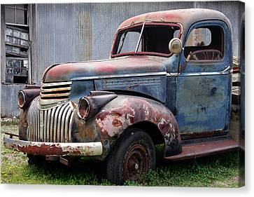 Canvas Print featuring the photograph Cool Blue Chevy by Steven Bateson
