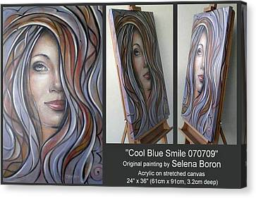 Canvas Print featuring the painting Cool Blue Smile 070709 Comp by Selena Boron