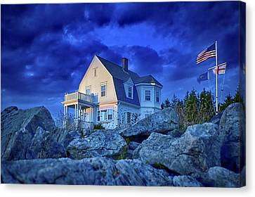 Rocky Maine Coast Canvas Print - Cool Blue Storm Parting by Gregory W Leary