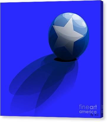 Canvas Print featuring the digital art Blue Ball Decorated With Star Grass Blue Background by R Muirhead Art