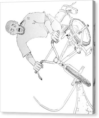 Cool Bmx Drawing Canvas Print by Mike Jory