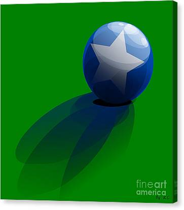 Canvas Print featuring the digital art Blue Ball Decorated With Star Grass Green Background by R Muirhead Art