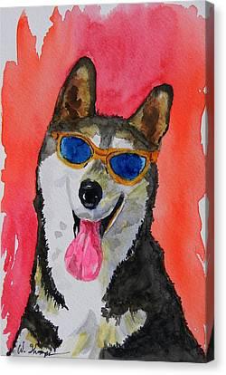 Cool Husky 3 Canvas Print by Warren Thompson