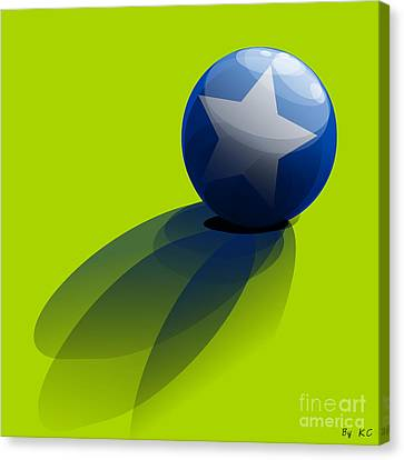 Canvas Print featuring the digital art Blue Ball Decorated With Star Green Background by R Muirhead Art