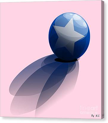 Canvas Print featuring the digital art Blue Ball Decorated With Star by R Muirhead Art