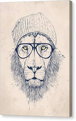 Glass Canvas Print - Cool Lion by Balazs Solti