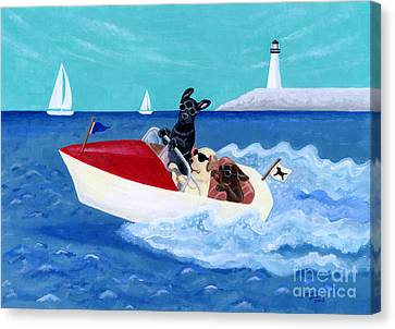 Cool Motorboat Labradors Canvas Print by Naomi Ochiai