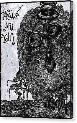 Cool Owl Canvas Print by Akiko Okabe