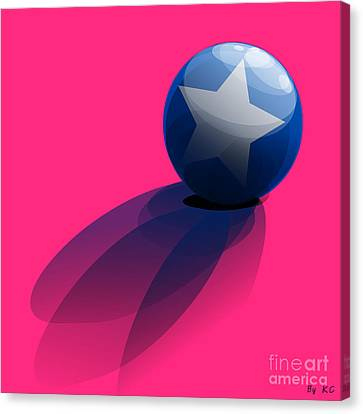 Blue Ball Decorated With Star Pink Background Canvas Print by R Muirhead Art