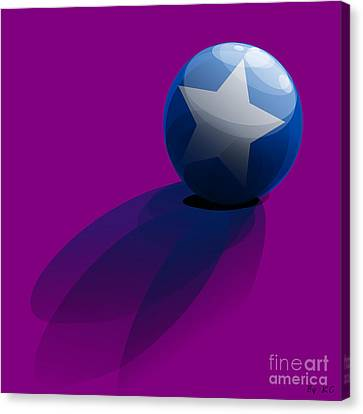 Canvas Print featuring the digital art Blue Ball Decorated With Star Purple Background by R Muirhead Art