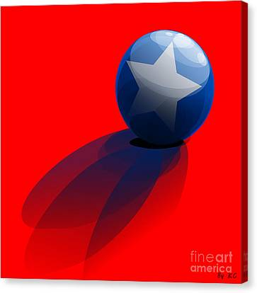Canvas Print featuring the digital art Blue Ball Decorated With Star Red Background by R Muirhead Art