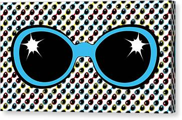 Cool Retro Blue Sunglasses Canvas Print