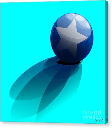 Blue Ball Decorated With Star Turquoise Background Canvas Print by R Muirhead Art