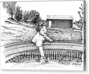 Canvas Print featuring the drawing Cool Water by Arthur Fix