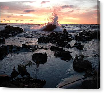 Cool Wave At Sunup Canvas Print by Sandra Updyke