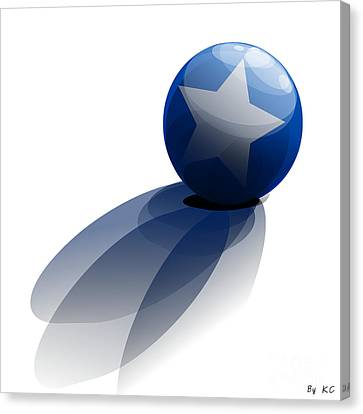 Canvas Print featuring the digital art Blue Ball Decorated With Star Grass White Background by R Muirhead Art