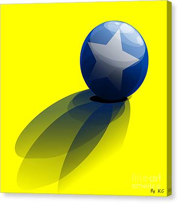 Blue Ball Decorated With Star Yellow Background Canvas Print by R Muirhead Art