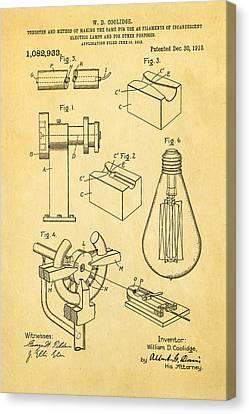 Incandescent Canvas Print - Coolidge Incandescent Lighting Patent Art 1913 by Ian Monk